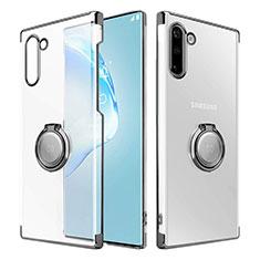 Coque Antichocs Rigide Transparente Crystal Etui Housse avec Support Bague Anneau Aimante Magnetique pour Samsung Galaxy Note 10 Noir