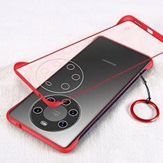 Coque Antichocs Rigide Transparente Crystal Etui Housse H01 pour Huawei Mate 40 Pro+ Plus Rouge