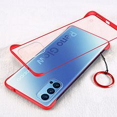Coque Antichocs Rigide Transparente Crystal Etui Housse H01 pour Oppo Reno4 Pro 5G Rouge