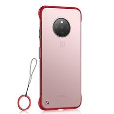 Coque Antichocs Rigide Transparente Crystal Etui Housse S01 pour OnePlus 7T Rouge