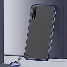 Coque Antichocs Rigide Transparente Crystal Etui Housse S01 pour Samsung Galaxy A70S Bleu