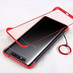 Coque Antichocs Rigide Transparente Crystal Etui Housse S01 pour Samsung Galaxy A80 Rouge