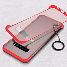 Coque Antichocs Rigide Transparente Crystal Etui Housse S02 pour Samsung Galaxy S10 Rouge