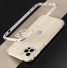 Coque Bumper Luxe Aluminum Metal Etui N01 pour Apple iPhone 12 Pro Max Or