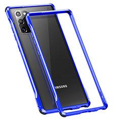 Coque Bumper Luxe Aluminum Metal Etui N01 pour Samsung Galaxy Note 20 5G Bleu