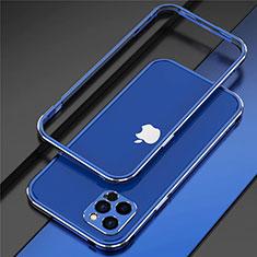 Coque Bumper Luxe Aluminum Metal Etui N02 pour Apple iPhone 12 Pro Bleu