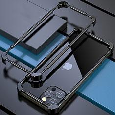Coque Bumper Luxe Aluminum Metal Etui N03 pour Apple iPhone 12 Pro Max Noir