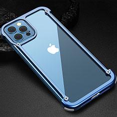 Coque Bumper Luxe Aluminum Metal Etui N04 pour Apple iPhone 12 Pro Max Bleu