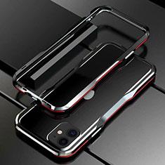 Coque Bumper Luxe Aluminum Metal Etui pour Apple iPhone 11 Rouge et Noir