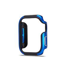 Coque Bumper Luxe Aluminum Metal Etui pour Apple iWatch 5 44mm Bleu et Noir