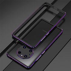 Coque Bumper Luxe Aluminum Metal Etui pour Huawei Mate 40 Pro Violet
