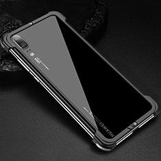 Coque Bumper Luxe Aluminum Metal Etui pour Huawei P20 Noir