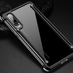 Coque Bumper Luxe Aluminum Metal Etui pour Huawei P30 Noir