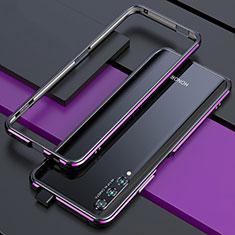 Coque Bumper Luxe Aluminum Metal Etui pour Huawei Y9s Violet et Noir