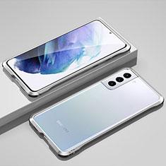 Coque Bumper Luxe Aluminum Metal Etui pour Samsung Galaxy S21 Plus 5G Argent