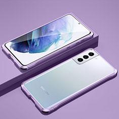 Coque Bumper Luxe Aluminum Metal Etui pour Samsung Galaxy S21 Plus 5G Violet Clair