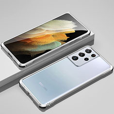 Coque Bumper Luxe Aluminum Metal Etui pour Samsung Galaxy S21 Ultra 5G Argent