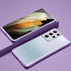 Coque Bumper Luxe Aluminum Metal Etui pour Samsung Galaxy S21 Ultra 5G Violet Clair