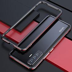 Coque Bumper Luxe Aluminum Metal Etui pour Vivo X50 5G Rouge et Noir