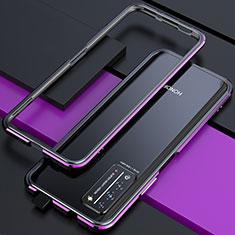 Coque Bumper Luxe Aluminum Metal Etui T01 pour Huawei Honor X10 5G Violet et Noir