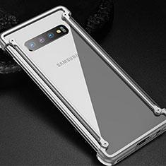 Coque Bumper Luxe Aluminum Metal Etui T01 pour Samsung Galaxy S10 5G Argent