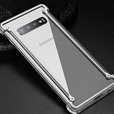 Coque Bumper Luxe Aluminum Metal Etui T01 pour Samsung Galaxy S10 Argent