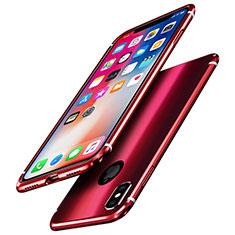 Coque Bumper Luxe Aluminum Metal Miroir Housse Etui A01 pour Apple iPhone Xs Rouge