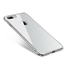 Coque Bumper Luxe Aluminum Metal Miroir Housse Etui M01 pour Apple iPhone 8 Plus Argent