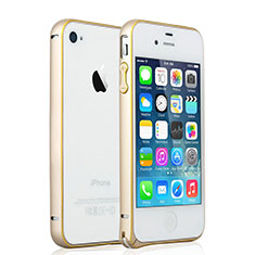 Coque Bumper Luxe Aluminum Metal pour Apple iPhone 4 Or