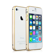 Coque Bumper Luxe Aluminum Metal pour Apple iPhone 4S Or