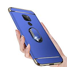 Coque Bumper Luxe Metal et Plastique avec Support Bague Anneau Aimante pour Huawei Mate 20 Bleu