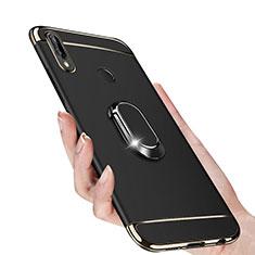 Coque Bumper Luxe Metal et Plastique avec Support Bague Anneau Aimante pour Huawei P Smart+ Plus Noir