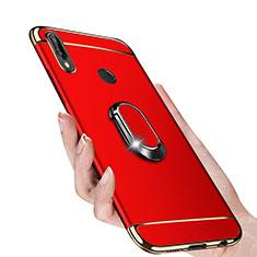 Coque Bumper Luxe Metal et Plastique avec Support Bague Anneau Aimante pour Huawei P Smart+ Plus Rouge