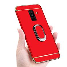 Coque Bumper Luxe Metal et Plastique avec Support Bague Anneau Aimante pour Samsung Galaxy A6 Plus Rouge