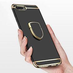 Coque Bumper Luxe Metal et Plastique avec Support Bague Anneau pour Huawei Honor 10 Noir