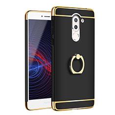 Coque Bumper Luxe Metal et Plastique avec Support Bague Anneau pour Huawei Honor 6X Pro Noir