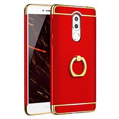 Coque Bumper Luxe Metal et Plastique avec Support Bague Anneau pour Huawei Honor 6X Pro Rouge
