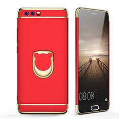 Coque Bumper Luxe Metal et Plastique avec Support Bague Anneau pour Huawei Honor 9 Premium Rouge