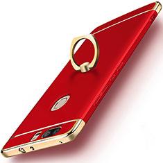 Coque Bumper Luxe Metal et Plastique avec Support Bague Anneau pour Huawei Honor V8 Rouge