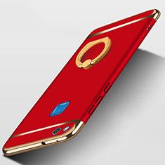 Coque Bumper Luxe Metal et Plastique avec Support Bague Anneau pour Huawei P8 Lite (2017) Rouge