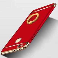 Coque Bumper Luxe Metal et Plastique avec Support Bague Anneau pour Huawei P9 Lite Rouge