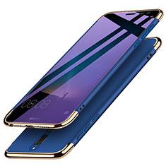 Coque Bumper Luxe Metal et Plastique avec Support Bague Anneau pour Huawei Rhone Bleu