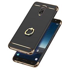 Coque Bumper Luxe Metal et Plastique avec Support Bague Anneau pour Samsung Galaxy C7 (2017) Noir