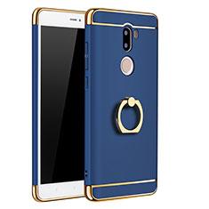 Coque Bumper Luxe Metal et Plastique avec Support Bague Anneau pour Xiaomi Mi 5S Plus Bleu