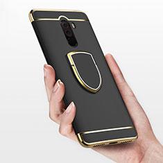 Coque Bumper Luxe Metal et Plastique avec Support Bague Anneau pour Xiaomi Pocophone F1 Noir