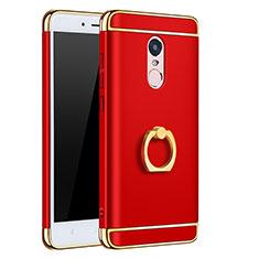 Coque Bumper Luxe Metal et Plastique avec Support Bague Anneau pour Xiaomi Redmi Note 4 Standard Edition Rouge