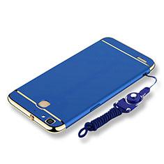Coque Bumper Luxe Metal et Plastique Etui Housse avec Laniere pour Huawei Enjoy 5S Bleu