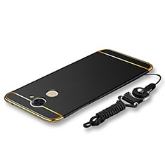Coque Bumper Luxe Metal et Plastique Etui Housse avec Laniere pour Huawei Enjoy 7 Plus Noir