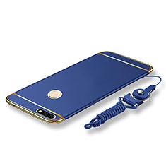 Coque Bumper Luxe Metal et Plastique Etui Housse avec Laniere pour Huawei Enjoy 8 Bleu