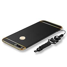 Coque Bumper Luxe Metal et Plastique Etui Housse avec Laniere pour Huawei Enjoy 8 Noir